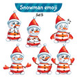 set of cute snowman characters set 5 vector image vector image