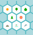 set of eco icons flat style symbols with tree vector image