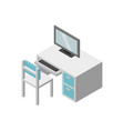 set of furniture working table with chair and vector image