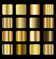 set of gold foil texture gradation vector image