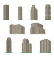 set of nine modern high-rise building vector image vector image