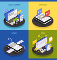 social media technology isometric concept vector image
