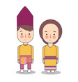 southeast sulawesi province wedding couple cute vector image vector image