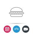 Vegetarian burger icon Fast food sign vector image