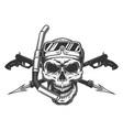vintage diver skull in scuba mask vector image vector image
