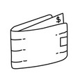 wallet icon doodle hand drawn or outline icon vector image