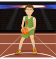 young basketball player on big arena vector image