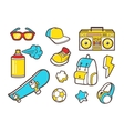 Youth culture symbols line icons vector image