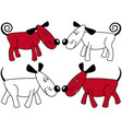red and white funny dogs vector image