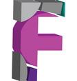 3d font letter f vector image vector image
