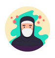 arabian woman with antivirus medical masks vector image