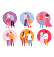 back couples adult people walking family hugging vector image vector image