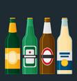beer bottles set in flat style vector image