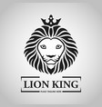 black king lion head mascot on white background vector image vector image