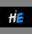 blue white alphabet letter combination he h e vector image vector image