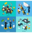 Business concept 4 isometric icons square vector image vector image