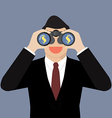Businessman use binoculars looking for money vector image