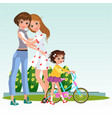 cartoon cheerful women in love hugging in park vector image vector image