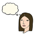 cartoon serious woman with thought bubble vector image vector image
