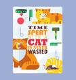 cat typography poster flat vector image
