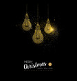 christmas and new year gold glitter lightbulb card