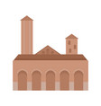 city tower brown building icon flat style vector image
