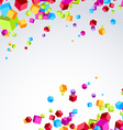 Colorful bright cube exploded particle background vector image vector image