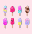 colorful ice cream stickers vector image