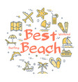 colorful icons in summer best beach theme vector image vector image