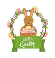 cute bunny with basket and frame eggs decoration vector image vector image
