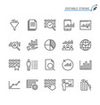 data analytics line icons editable stroke vector image vector image
