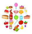 dessert icons set cartoon style vector image vector image