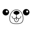 dog happy square face head icon contour line vector image vector image