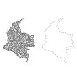 dotted contour map of colombia vector image vector image