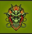 dragon head logo mascot vector image vector image