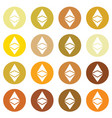 ethereum icon in different gold color vector image