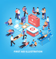 first aid isometric composition vector image