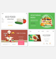 flat healthy food websites set vector image vector image