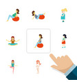 flat icon pregnancy set of pose fitness mother vector image vector image