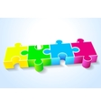 four puzzle yellow green blue red lie on a white vector image