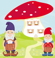 funny cartoon mushroom house and two funny gnomes vector image