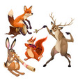 group of funny musician animals with conductor vector image vector image