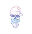 hand drawn angry skull santa claus vector image vector image