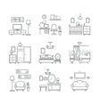Home room icons set Interior design room types vector image vector image