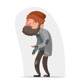 homeless bum poor male character beg help money vector image
