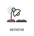 initiative icon and desk lamp with book on white vector image vector image