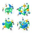 isometric brain development concept creating neur vector image