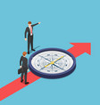 isometric businessman with compass advice his vector image vector image