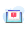 laptop with warning sign computer with opened vector image