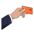 man hold plastic credit card in hand cardholder vector image vector image